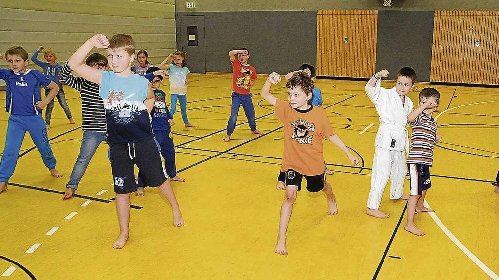 Mit viel Spaß sind die Kinder in der Turnhalle dabei, die ersten Übungen durchzuführen.