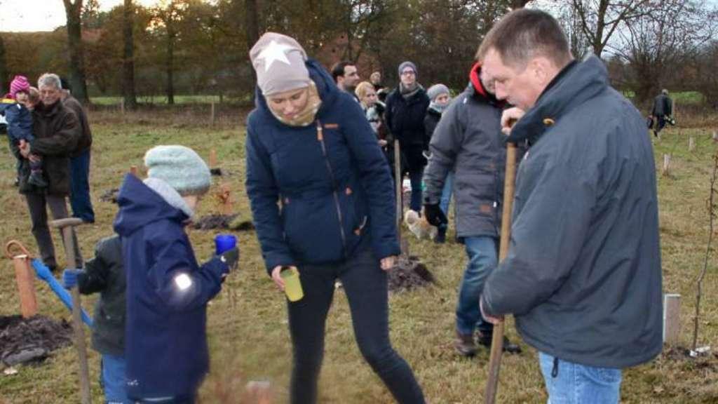 Jung und Alt pflanzten ihre Bäumchen. - Foto: Röttjer