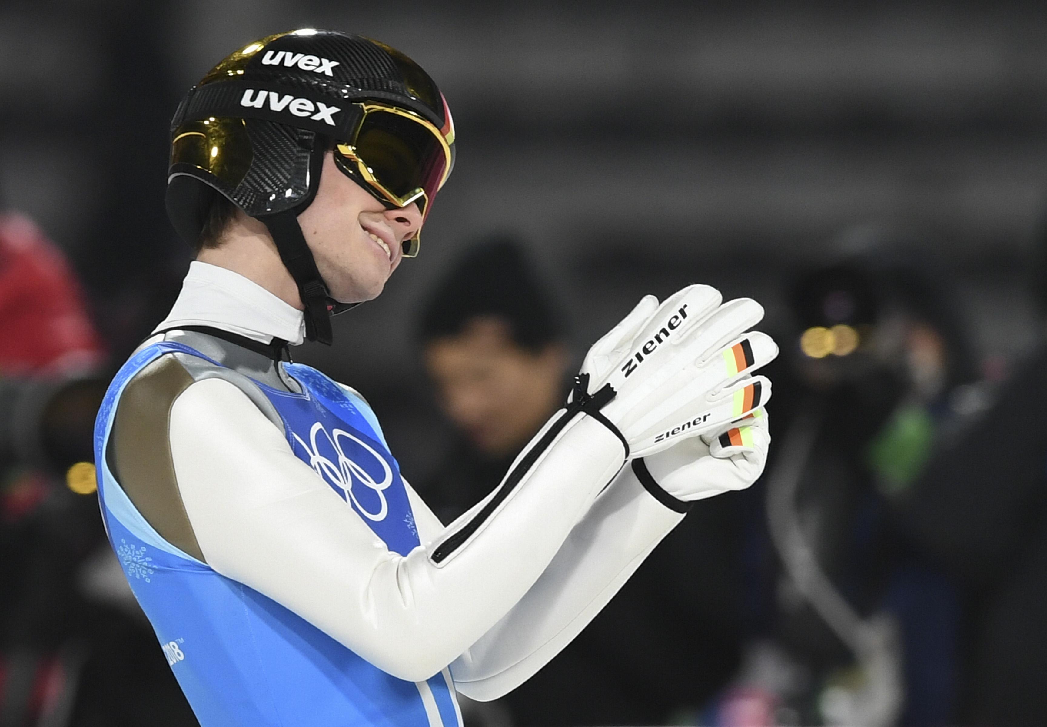 Andreas Wellinger nach seinem Triumph im Team-Springen.