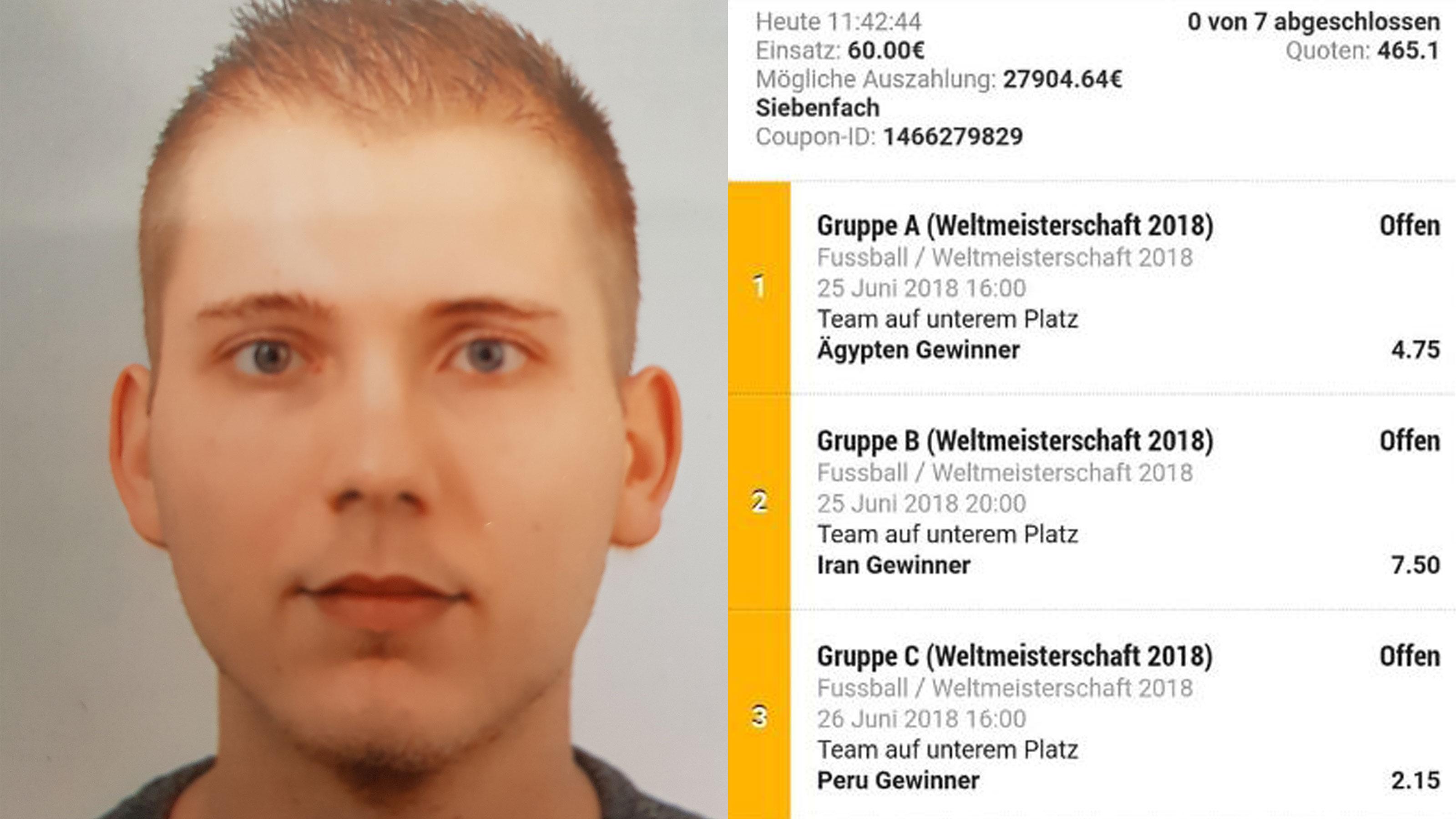 Alexander K. (links) fühlt sich betrogen. Auf der rechten Seite sieht man einen seiner drei Wettscheine, mit denen er gewonnen hat - eigentlich.Die in Aussicht gestellte Auszahlung von fast 28.000 Euro ist in der oberen Spalte links zu sehen.