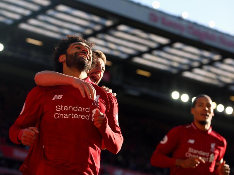 Liverpools Mohamed feiert sein Tor zum 1:0. Foto: Dave Thompson/PAWire
