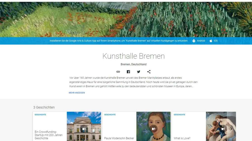 Die virtuelle Kunsthalle bei Google Arts and Culture. Foto: Screenshot
