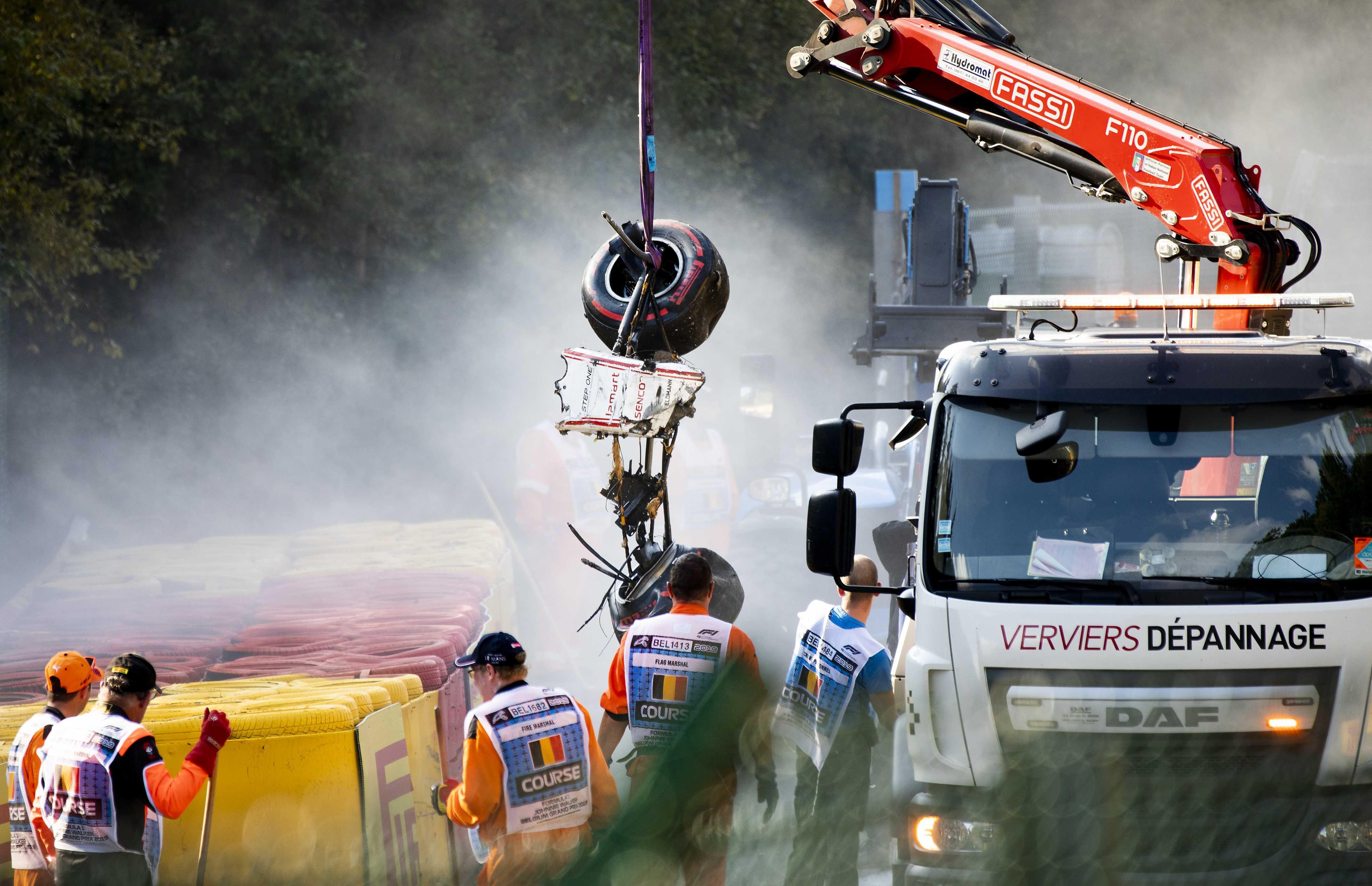 Formel 2: Der demolierte Wagen von Juan Manuel Correa in Spa-Franchorchamps.