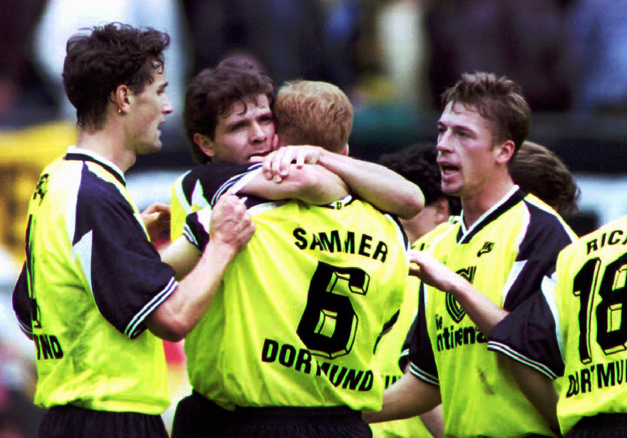 Einst zusammen in Dortmund (v. l.): Heiko Herrlich, Andreas Möller, Matthias Sammer und Steffen Freund.