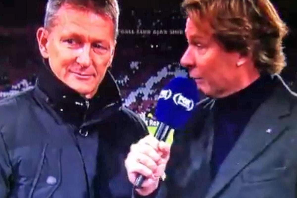 """Der deutsche Trainer Frank Wortmuth (l.) in einem Interview von""""Fox Sports"""" vor dem Spiel gegen Ajax."""