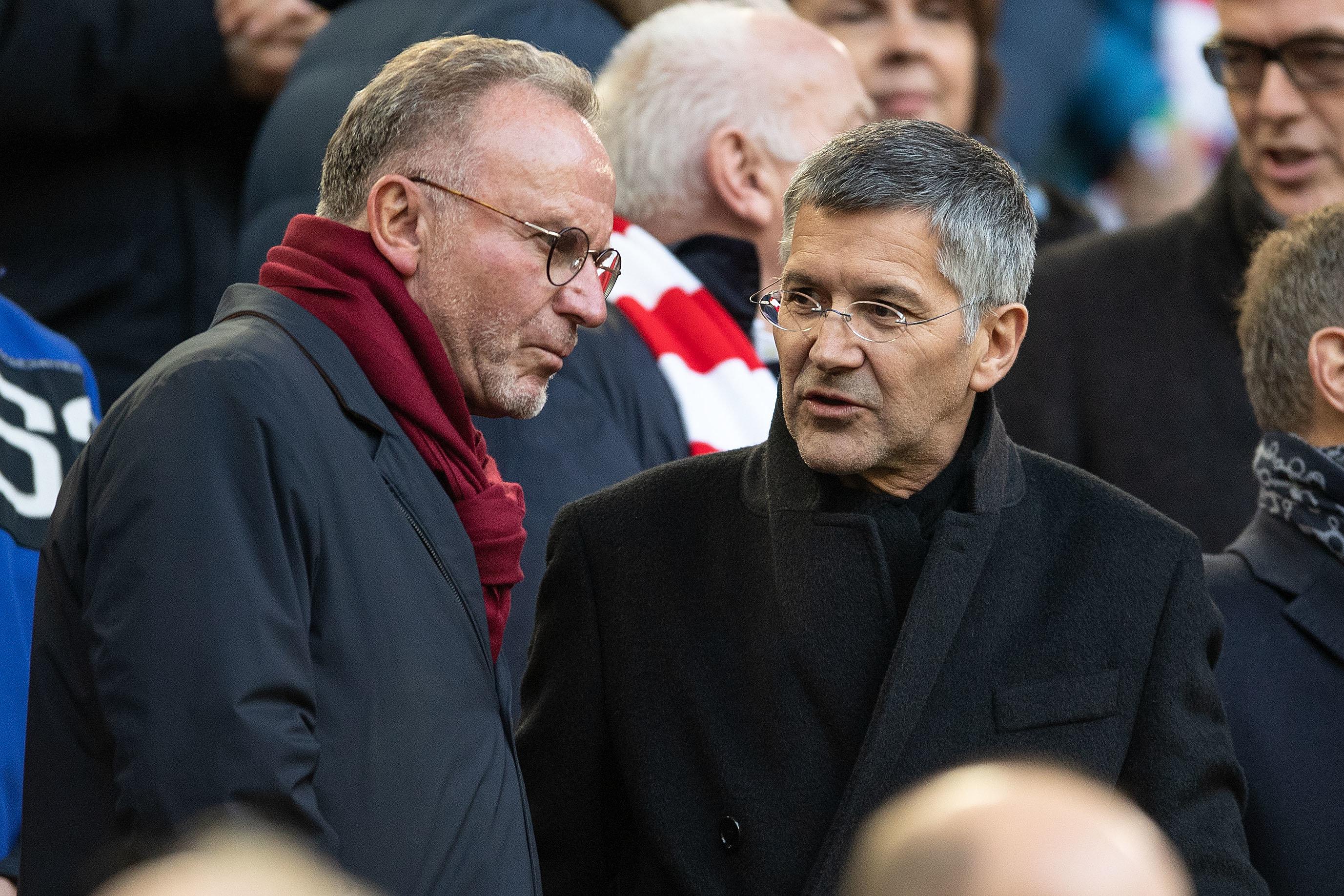 Bosse des FC Bayern München: Vorstandsvorsitzender Karl-Heinz Rummenigge (l.) und Präsident Herbert Hainer.