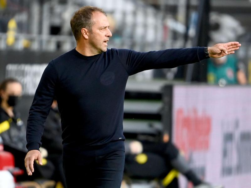 Trainer Hansi Flick liegt mit dem FC Bayern München auf Meisterschaftskurs. Foto: Federico Gambarini/dpa-Pool/dpa