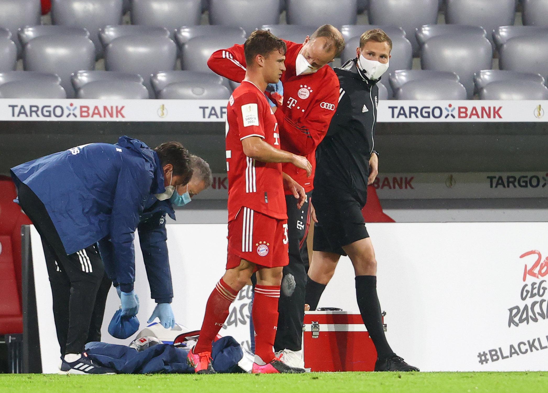 Gezeichnet von einem harten Pokal-Fight: Bayern-Star Joshua Kimmich.