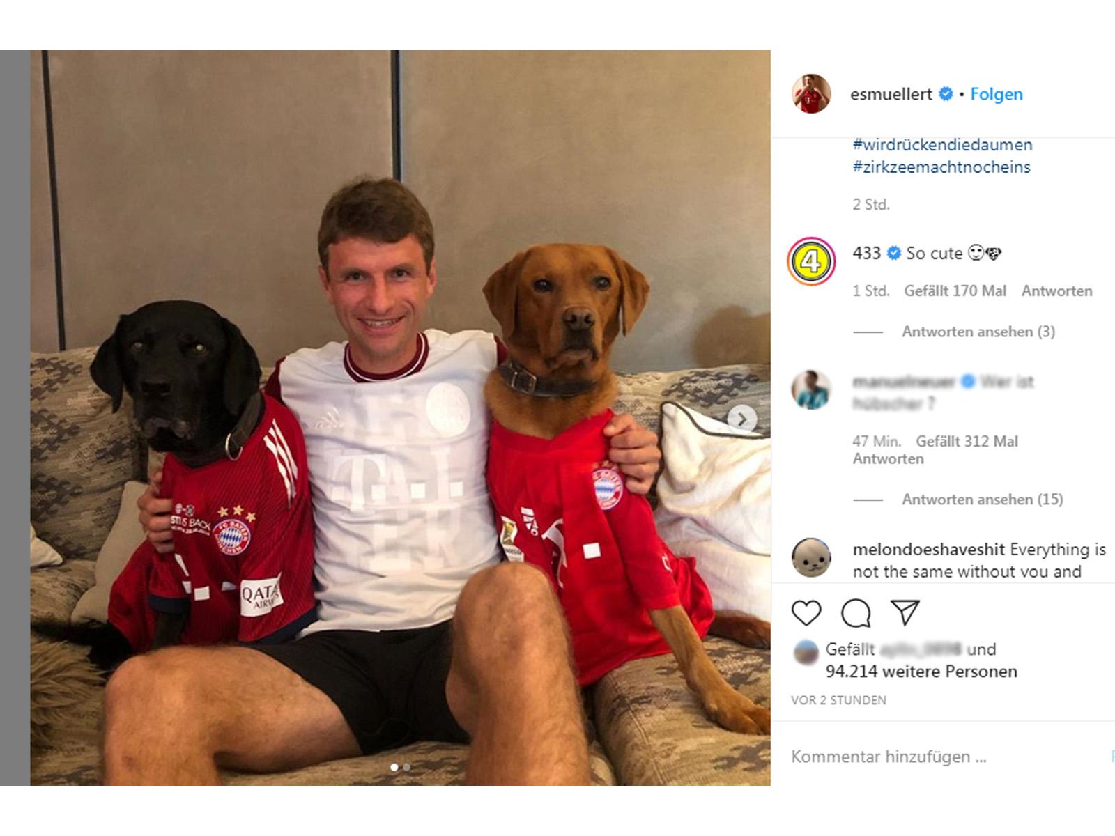 Unter den Instagram-Beitrag von Thomas Müller erlaubte sich ein Mitspieler einen Scherz.