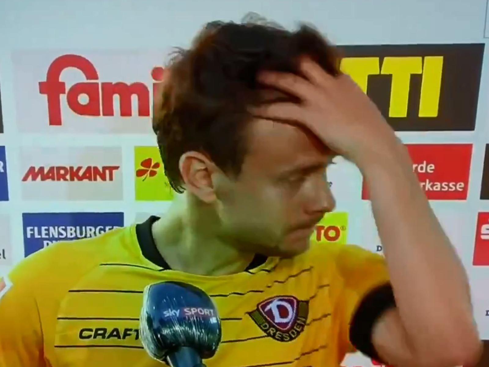 Dynamos Chris Löwe schimpfte unter Tränen über die DFL und den engen Spielplan.