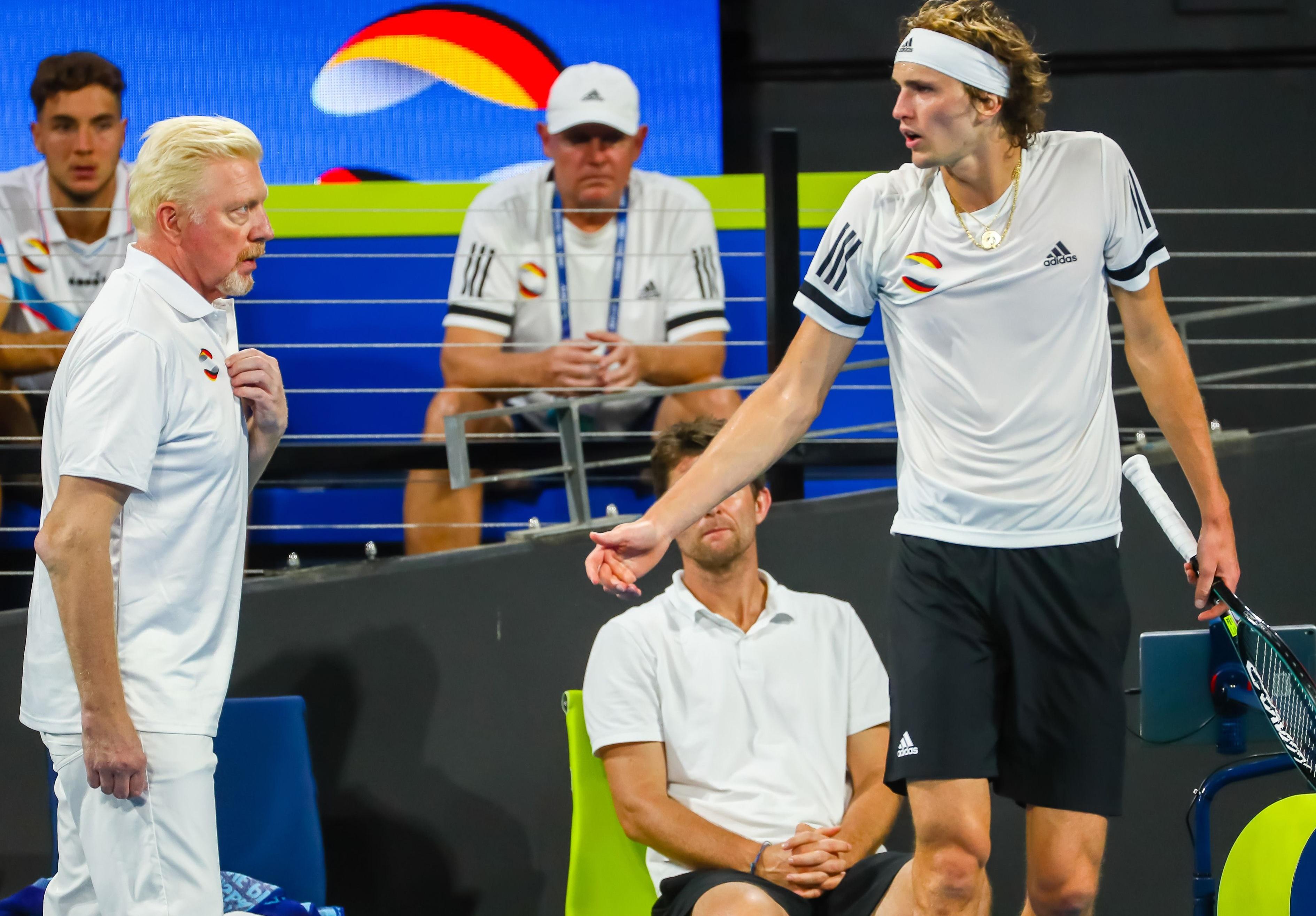 Boris Becker (l.) und Alexander Zverev.