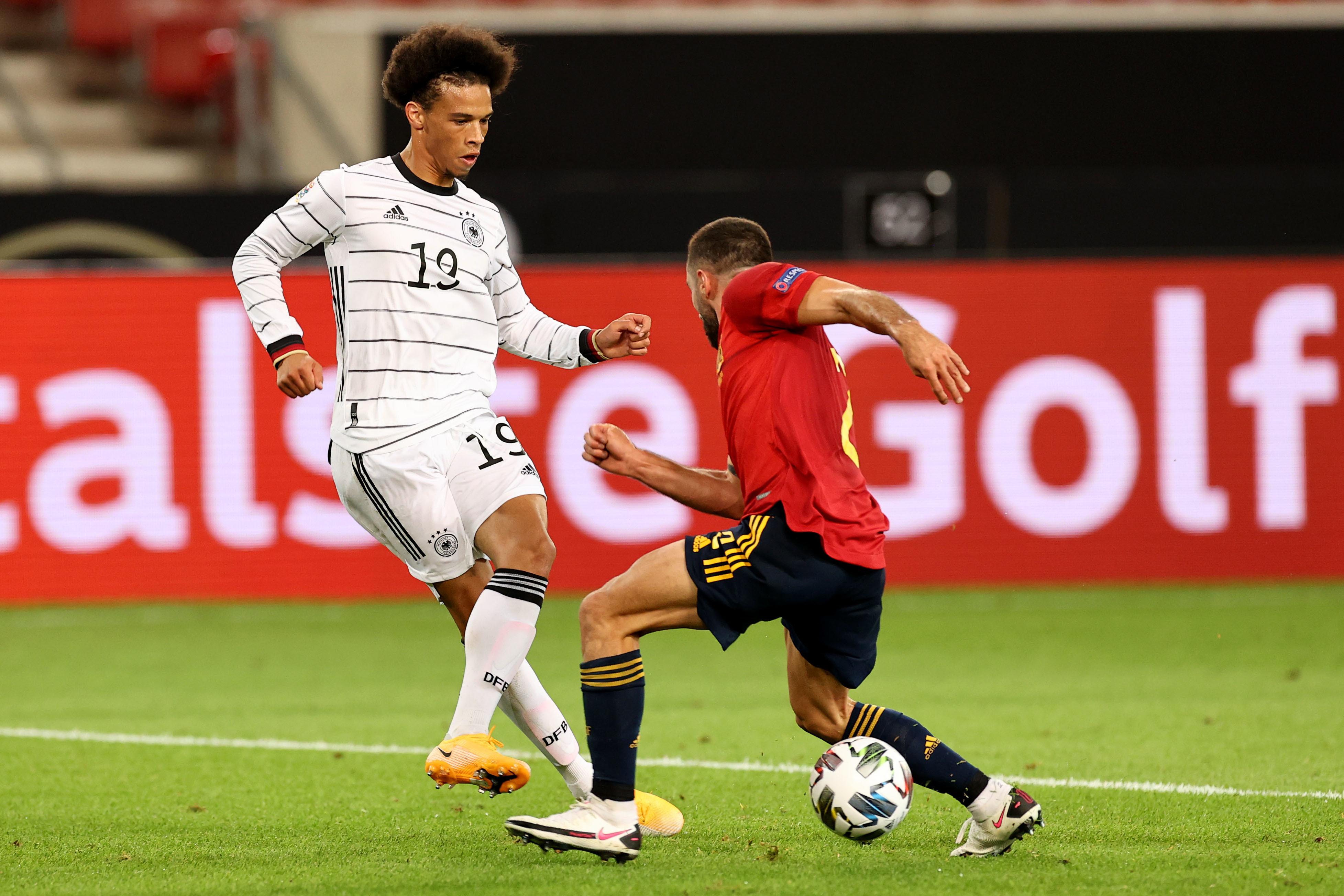 Leroy Sané spielte gegen Spanien von Beginn an und zeigte einige gute Aktionen.