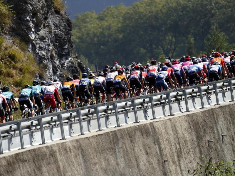 Das Fahrerfeld hat noch eine Etappe in den Alpen zu absolvieren. Foto: Christophe Ena/AP/dpa
