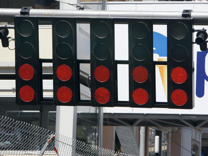 Die Startampel beim Grand Prix von Monaco. Foto: Jens Büttner/dpa