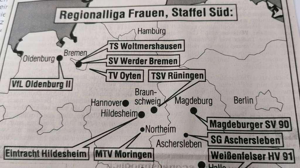 Landkarte mit den Gegnern der Handball-Damen des TV Oyten Anfang der 90er-Jahre.