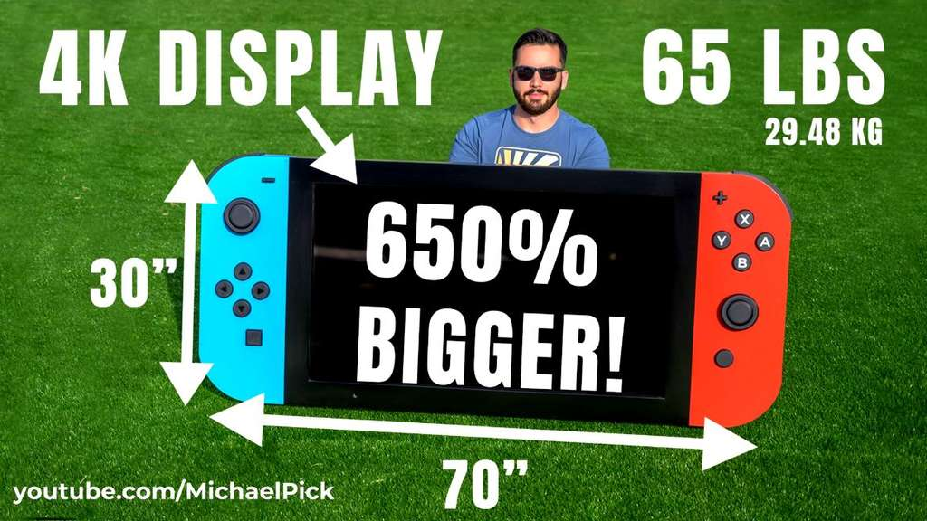 YouTuber Michael Pick und seine Riesen-Nintendo-Switch.
